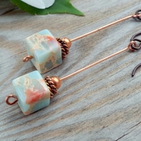 Long Copper and Blue Jasper Stick Earrings byLaurieB