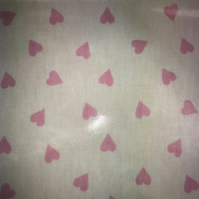 Cream and Pink Heart Oilcloth