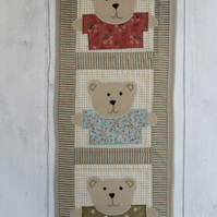 Teddy Bear Applique Quilted Nursery Wallhanging
