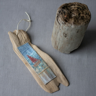 Driftwood Sailing Boat Stitched Hanging Wall Art