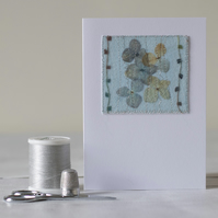 Blank Pressed Flower Hydrangea Mixed Media Textile Greetings Card