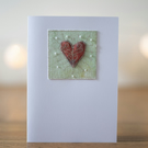 Mixed Media Hand Beaded Textile Greetings  Card