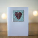 Mixed Media Hand Beaded Heart Card