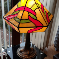 Tiffany table lamp.Stained glass hand crafted lovely pice of glass art.