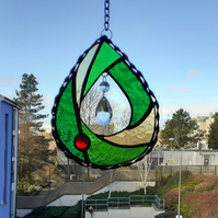 "Pear shaped  suncatcher 6"" x 5"" With 40mm glass teardrop.Chain and window sucker"