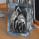 stained glass mirror with 2 large crane etchings