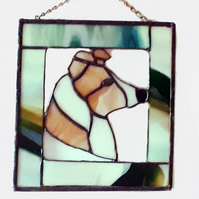 Stained glass framed suncatcher wall hanger of collie dog