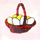 stained glass basket of eggs 9 x 9 inches