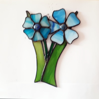 Stained glass suncatcher of two nasturchiums. (150 x 230mm)