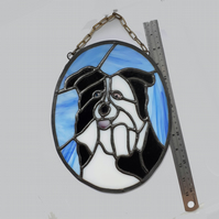 Large suncatcher border collie 10x 8 in (250 x 200mm)