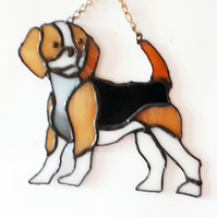 Stained glass beagle. hand crafted to a quality finish.