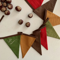 Autumn Bunting, Seasonal Embroidered Garland, Hello Autumn