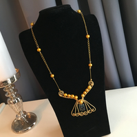 Gold Fresh Water Pearl Egyptian style Necklace - Angel