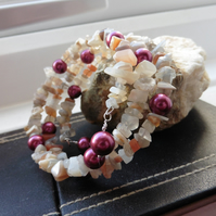 Multi Coloured Moonstone and Shell Pearl Memory Wire Bracelet