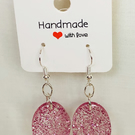 Handmade Pink Glitter Earrings