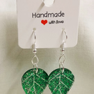 Handmade Green Glitter Earrings