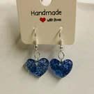 Handmade Blue Glitter Earrings