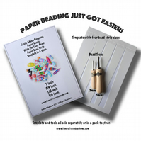 Paper Bead Making Kit - Two Tools And The Paper Bead Template in Four Sizes