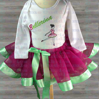 Girls Baby Pink Green Ribbon Tutu with Matching Ballerina Long Sleeve 6-9 Mths