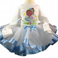 Girls White Glitter Blue Ribbon Tutu Matching Girl and Bunny Embroidered 3-6Mths
