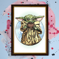 Baby Yoda - Star Wars Watercolour Print