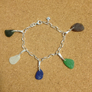 "Sterling Silver 7.5"" Oval Link Bracelet with five sea glass charms"