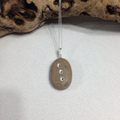 Beach Pebble,Stone Necklace And Pendant With 3 Swarovski Crystals Embedded