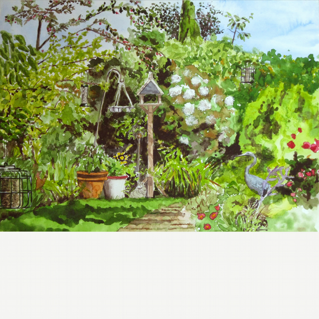 Garden, signed original painting
