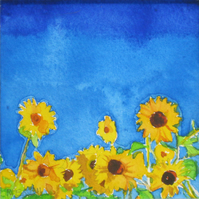 Sunflowers. Signed, original watercolour painting