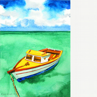 Moored boat. Signed, original watercolour painting.