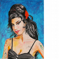 Amy, Amy, Amy. Signed, original drawing in oil pastels.