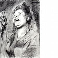 Lady Day. Original pencil portrait drawing of Billie Holiday.