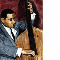 Buddy Catlett, jazz bassist. Signed, original watercolour painting