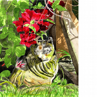 Scene in My Garden 5. Ornamental cat. Original watercolour painting.