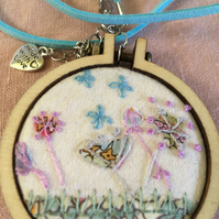 Hand embroidered  mini embroidery frame necklace