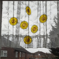 Sunflowers stained glass effect hanging mobile