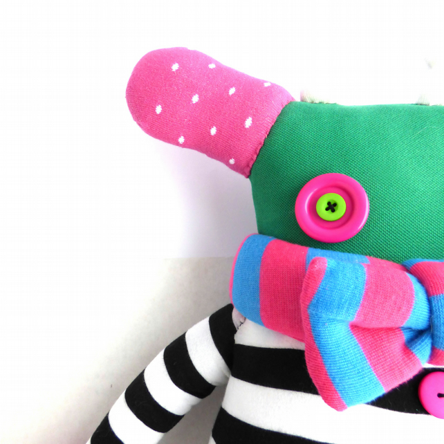 Jade the Top Monster - collectable soft toy made from recycled tops