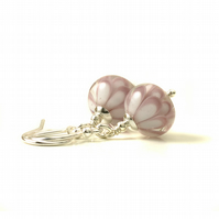 Pink and White Lampwork Glass Flower Earrings
