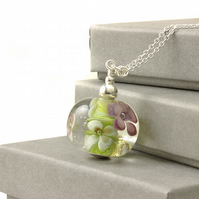 Handmade Long Lampwork Glass Flower Necklace in Sterling Silver
