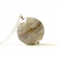 Pale Grey Lampwork Glass and Sterling Silver Necklace