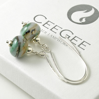 Green Long Hook Sterling Silver and Lampwork Glass Earrings