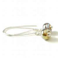 Metallic Glass and Sterling Silver Long Hook Lampwork Earrings