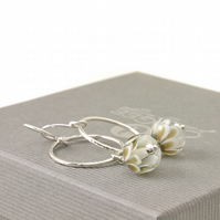 White Lampwork Glass and Sterling Silver Hoop Charm Earrings