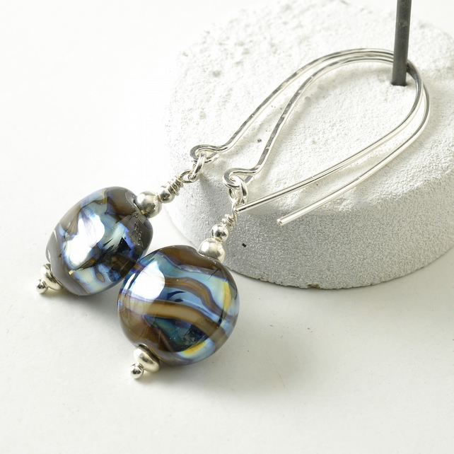 Lampwork Glass Earrings on Long Sterling Silver Hooks