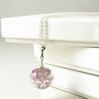 Pink Flower Lampwork Glass Pendant Necklace