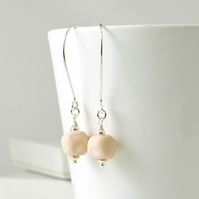 Pale Lampwork Glass Earrings on Long Sterling Silver Hooks
