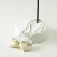 Long Ivory Maris Lampwork Glass Earrings in Sterling Silver