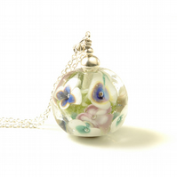 Long Lampwork Glass Flower Necklace in Sterling Silver
