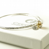 Sterling Silver Golden Star Charm Bangles