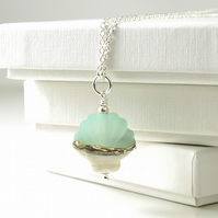 Green Shell Necklace in Lampwork Glass and Sterling Silver